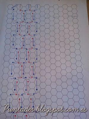 Este punto se realiza usando al mismo tiempo dos líneas de celdas del tul, y se trabaja de forma alterna, creo que en gráfico que os pongo s...