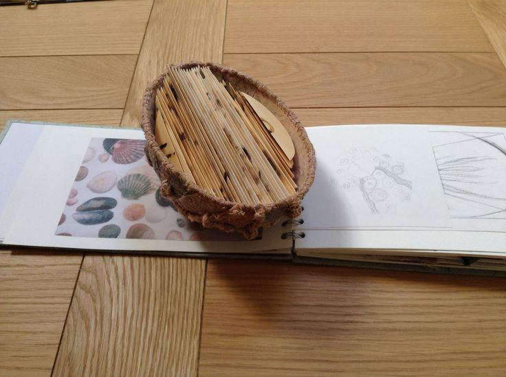 Pages inside my book all folded and ready to stitch together