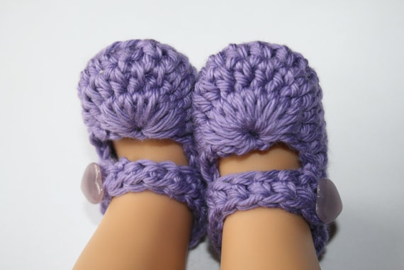Purple Mary Jane Baby Girl Booties Slippers Baby shower Gift Baby Shoes Photo Prop