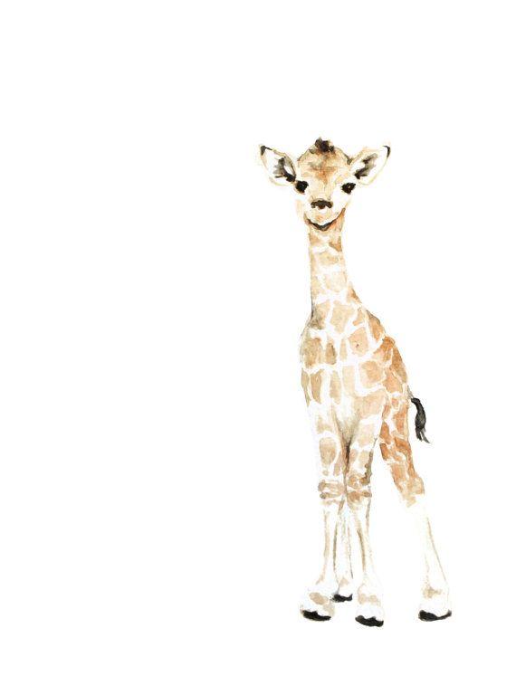 8x10 PRINT  Giraffe Watercolor print animal by FoxHollowDesignCo