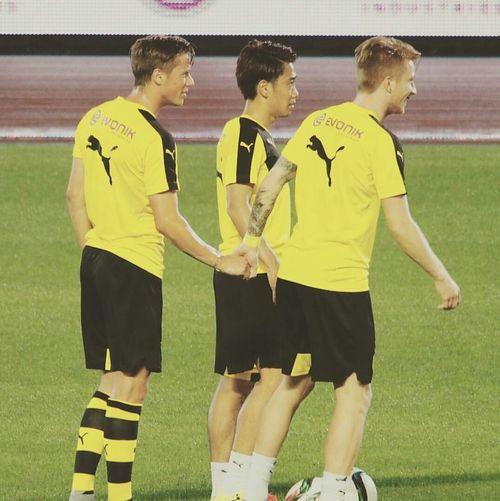 Marco Reus and Erik Durm and oh, look Shinji Kagawa