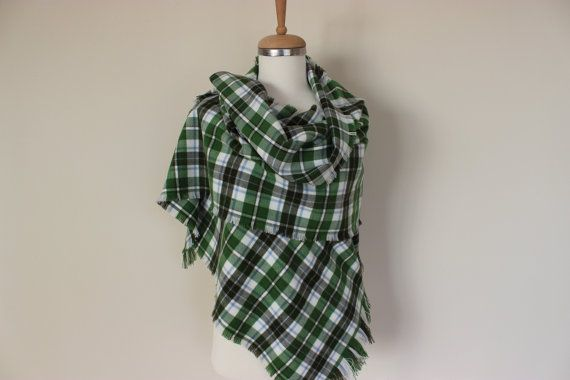 Green White Tartan Plaid Flannel Shirt Fabric Scarf, Game Day Scarf, Camp, Sports Scarf, Mens Blanket Scarf,Soft Warm Blanket Stadium Shawl  Material:
