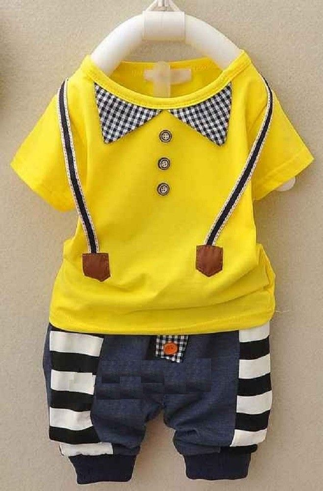 This Short Sleeves Baby Boy T-Shirt with Pants is comfortable and lightweight. It is design like a jumper suit with stripes at the sides and 3 buttons at front. It comes in Blue, Grey, Orange and Yellow Top matching with a blue with black and white stripe pants. Your baby will look smart with this outfit. Refer to the chart for size references.