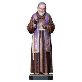 San Padre Pio da Pietrelcina legno dipinto stola viola | vendita online su…
