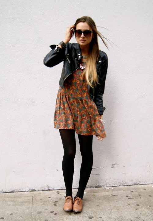 Pretty dress, leather jacket, black tights, cute shoes