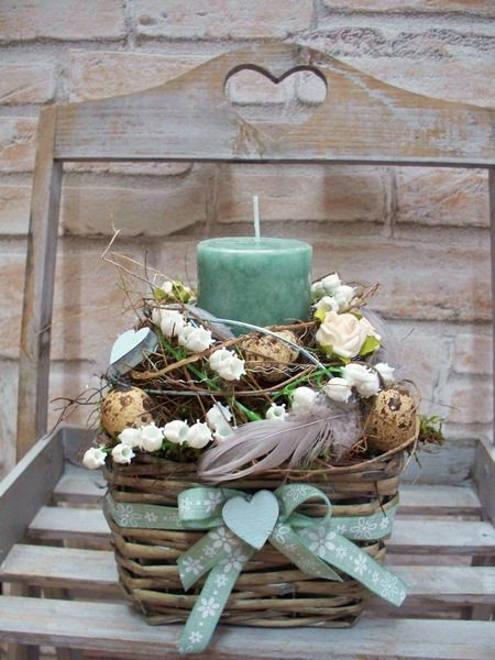 Ostergesteck mit Kerze im Korb,Maiglöckchen,petrol von ...die mit den Blumen tanzt... auf DaWanda.com