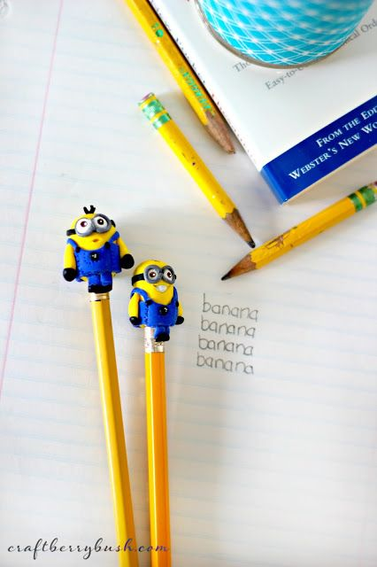 Craftberry Bush: Minion clay pencil topper tutorial and curing polymer clay in the microwave
