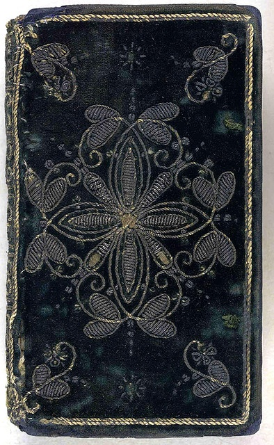 17th century embroidered velvet book cover. A Comfortable Treatise, for the reliefe of such as are afflicted in Conscience: revised the third time, ... interlaced, and enlarged in many places. (London, 1620)  Collection: The British Library