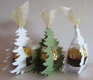 Die Rocher-Tannenbäumchen machen sich bestimmt gut auf dem Weihnachtsteller. Die Schneidedatei ist von Susanne P. aus der Si...