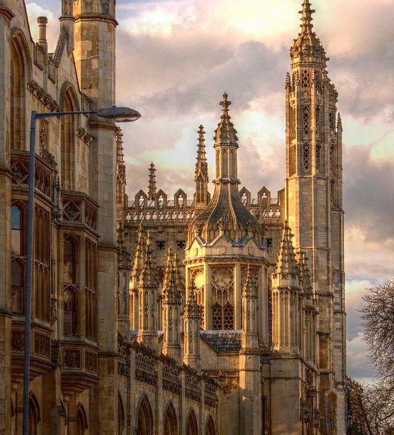 Gothic turrets Kings College Cambridge, UK