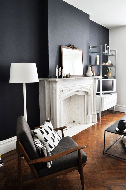 via sfgirlbybay: Living Rooms, Decoration, Wall Color, Black White, White Fireplaces, Black Accent, Dark Wall, Black Wall, Accent Wall