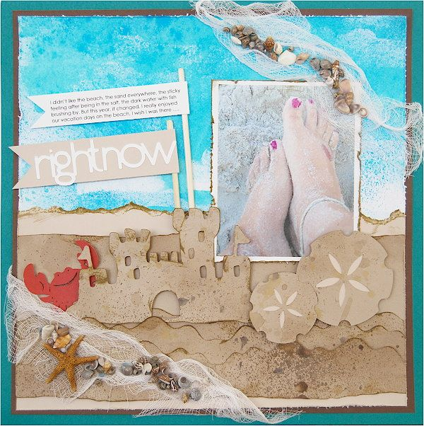 cricut beach scrapbook scrapbooking layouts layout beach
