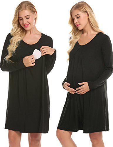 85564207e30 Ekouaer Nursing Nightgown Nightdress Hospital Gown Delivery Labor Maternity Pregnancy  Soft Breastfeeding Dress
