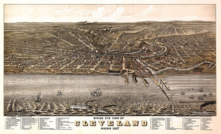 Vintage Map of Cleveland Ohio 1877 Cuyahoga County Poster