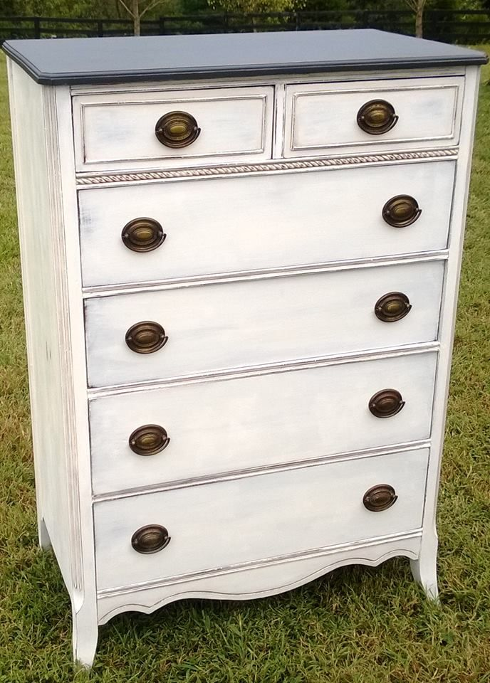 Antique chest of drawers refinished in Graphite and Pure White Chalk Paint® decorative paint by Annie Sloan | By Nikki Gray-Bartholomew
