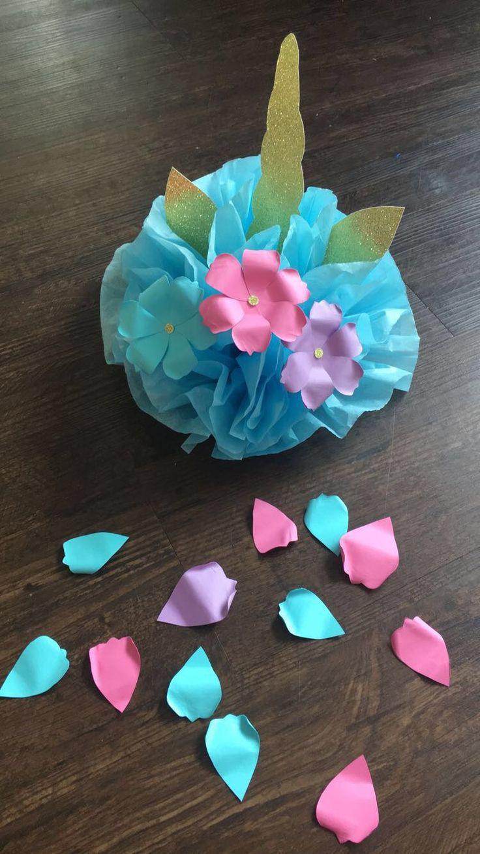 UNICORN Birthday Party Tissue Paper Pom Pom/ Decorations/ Supplies/ Center Piece/ Gifts #unicorn #unicornbirthday #unicornparty #unicorncake #unicorndecorations #unciornsupplies
