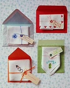Create custom handkerchief Christmas cards. (Great craft for kids!)