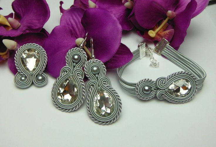 Crystal silver earrings soutache bracelet ring from Soutacheria by DaWanda.com