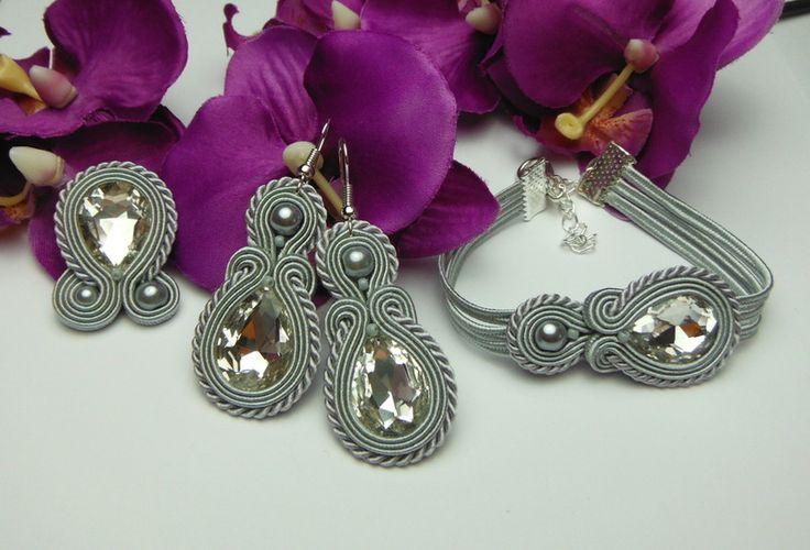 Crystal silver earrings soutache bracelet ring from Soutacheria by DaWanda.com