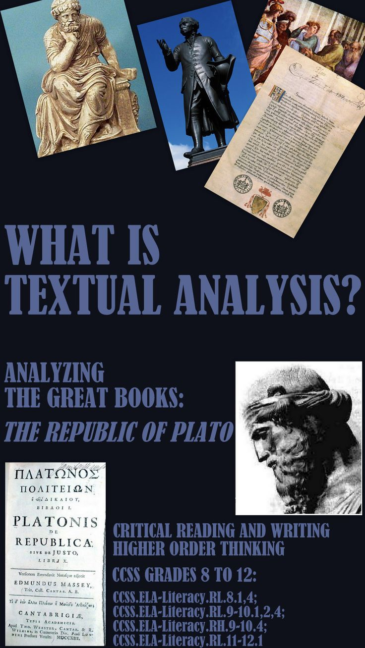 WHAT IS TEXTUAL ANALYSIS? CRITICAL THINKING SKILLS (#2) THE REPUBLIC.  This is a self-contained unit on textual analysis. Everything you need is here. Give your students the necessary tools to develop critical reasoning skills using the Great Books. Included: ➢A small excerpt from Plato's Republic. ➢Suggestions on how to read the text at different levels. ➢A breakdown of the excerpt sentence by sentence with writing prompts ➢Group and individual Qs AND MORE... $