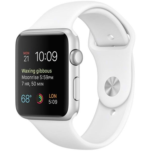 Apple Watch Sport 42mm Silver Aluminum Case with White Sport Band ($349) ❤ liked on Polyvore featuring jewelry, watches, sports watches, white jewelry, silver wrist watch, silver watches and silver jewellery