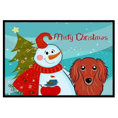 "Caroline's Treasures Snowman with Longhair Dachshund Doormat Rug Size: 1'6"" x 2'3"", Color: Red"