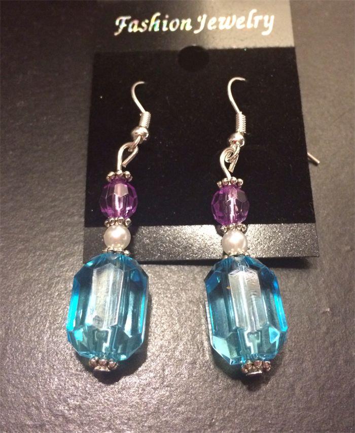 Stunning purple and blue drop earrings