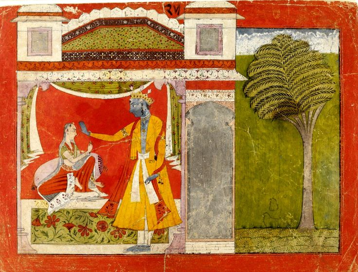 Radha upbraiding Krishna, who strives to placate her; Radha holds a tassel of his sleeve. From a Nayaka Nayika series, possibly the Rasamanjari of Bhanu Datta.   Basohli, India (made). Date  ca. 1680 - ca. 1700 (made)