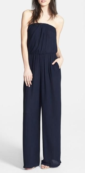 Look stylish and feel relaxed in a strapless jumpsuit.
