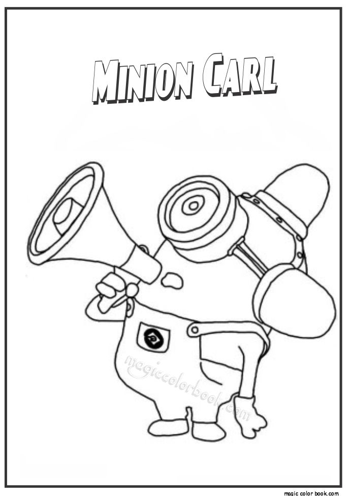 Minion Carl The Coloring Page PageFull Size Image