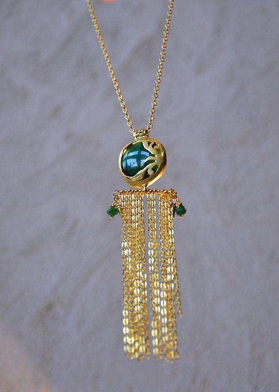 SOLD 22K gold plated green Jade gemstone pendant, gold plated fringe thin chains, matte gold plated main chain, green Jade gemstone beads