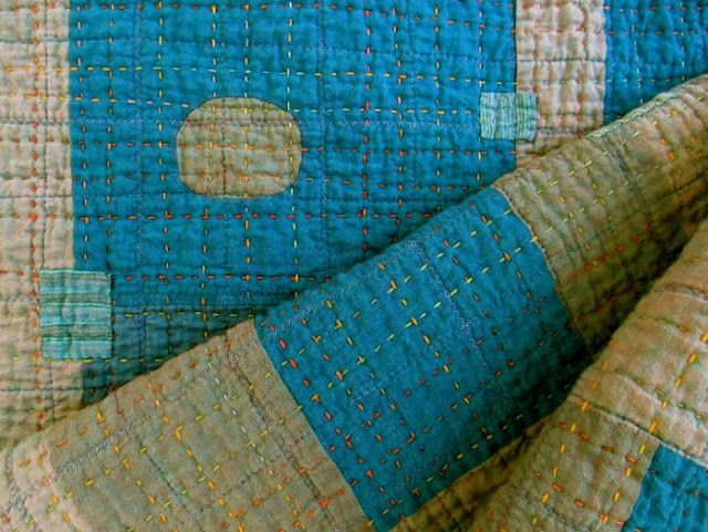 like this hand quilting look w/ dif colors - via The Modern Quilt Guild