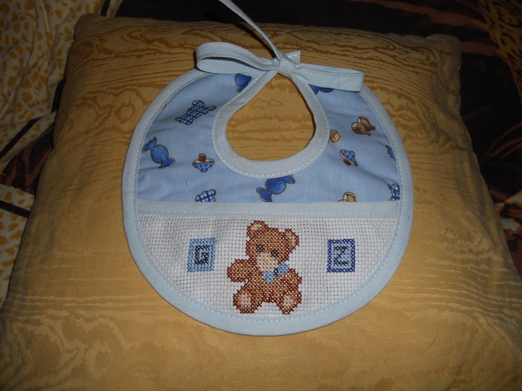 cross stitch baby bib: bear with letter cubes (for gabrijel)