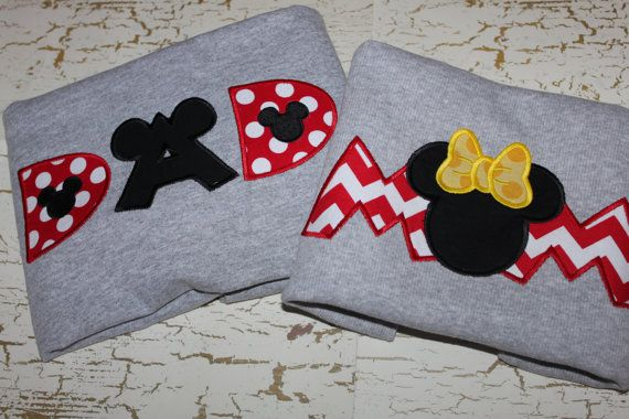 Minnie Mickey MOM and DAD applique shirt by Skunkysmonkeys on Etsy, $48.00