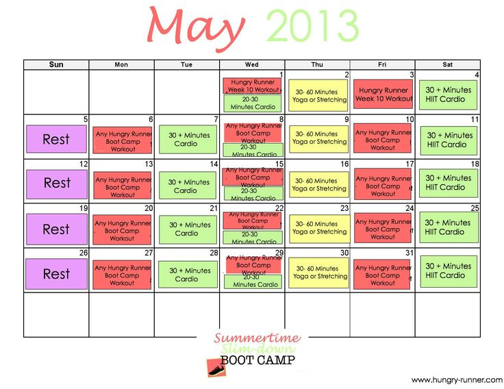 Summertime Slim-down Boot Camp: May #Workout Calendar
