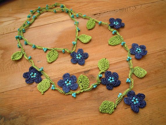 crochet necklace lariat blue flowers green leaves by PashaBodrum