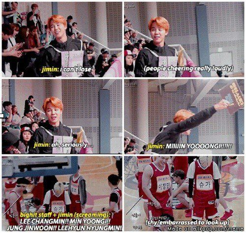 When your girlfriend(boyfriend) is more excited tan you during a game. Of course of course. | Yoonmin