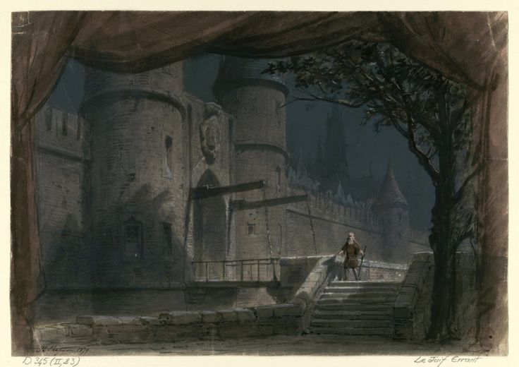 """Set design (1879), by Philippe Chaperon (1823-1906), for Act 1 of """"Le juif errant"""" (1852), by Fromental Halévy [born Elias Lévy] (1799-1862)."""