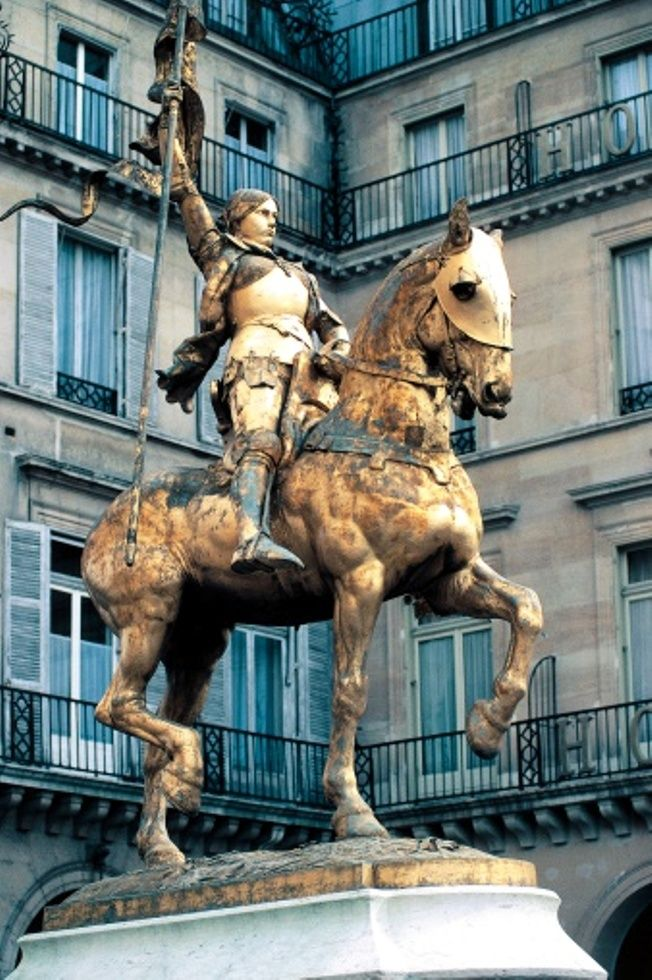 This statue was right outside of our window at The Regina Hotel . c ~Equestrian statue of Joan of Arc  Paris, France