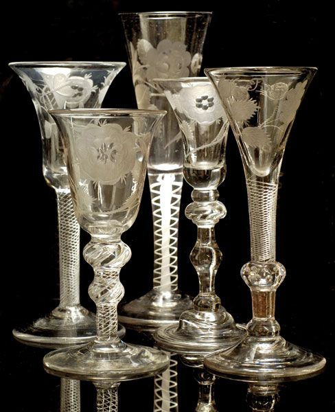 Jacobite Drinking Glasses. Hand-Blown & Engraved Glass. Circa 18th Century.