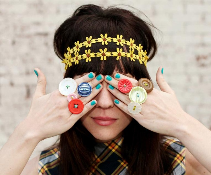 Button Rings by Red Velvet Art #RedButton #Sewing