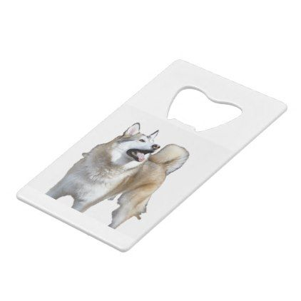 Golden Husky Looking Up Credit Card Bottle Opener - baby gifts giftidea diy unique cute