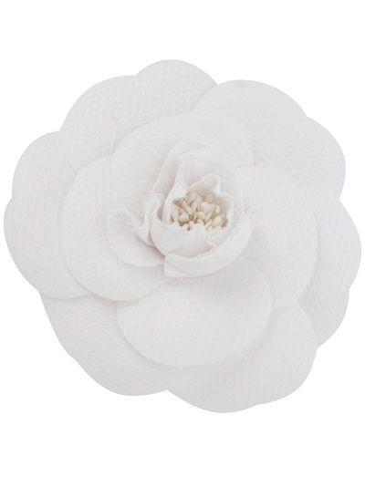 CHANEL - Vintage - white cotton Camellia brooch