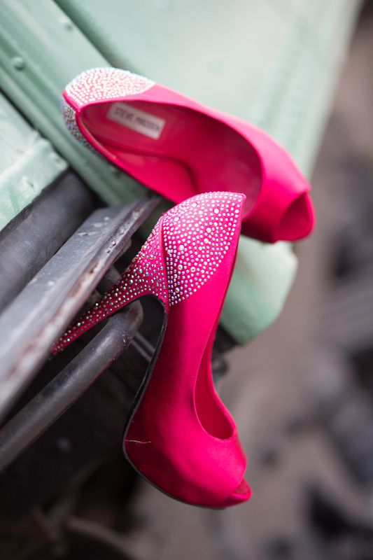 Hot pink wedding shoes. unpluggedphotography