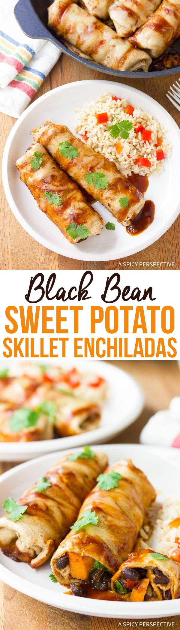 Black Bean Sweet Potato Skillet Enchiladas Recipe - A zesty robust vegetarian meal you can make in one pan!  via @spicyperspectiv