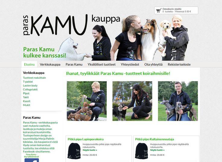 Paras Kamu -verkkokaupasta mukavia vaatteita, laukkuja ja mukeja erilaisten koirarotujen kuvioinneilla.