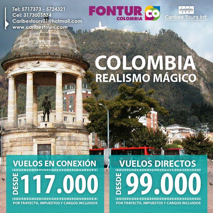 Colombia - Realismo mágico  Vuelos directos desde $99.000  Vuelos en conexión desde $117.000  Compra hasta el 7 de septiembre de 2015  Inicia tu vuelo desde le 8 de septiembre de 2015 hasta el 30 de junio de 2016