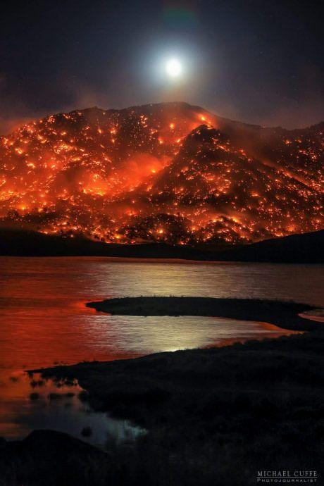 Fire above a lake