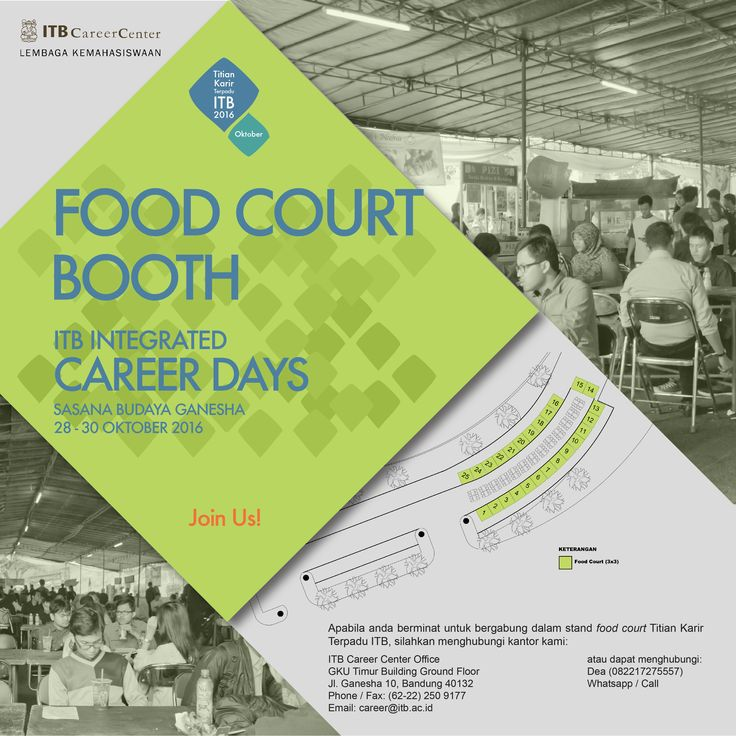 ITB Career Center is calling for Food & Beverages tenants to join #TitianKarirITB on 28-30 Oct 2016 at SABUGA. Cp: DEA (wa/call) 082217275557