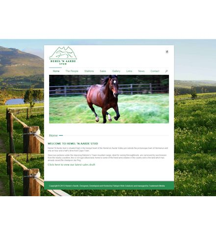 HEMEL 'N AARDE Stud Farm approached us with the idea of having a basic website that is simple to navigate but also to expose their Stallions prominently throughout the site. Job done – Simple, informative and straight to the point! One of our favourite websites.